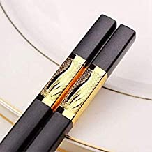 Black : 10.7'' 5 Pairs High Quty Black Gold Silver Chinese Chopsticks Fiberglass Alloy Chopstick Set Eco-Friendly Reusable Chopsticks