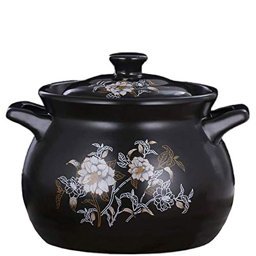 HIZLJJ Pote de sopa de cerámica, Estufa de utensilios de cocina de cerámica, olla de sopa, pote, cazuela, olla de barro, olla de estofado saludable, cuenco negro de cerámica con estampado, calor, resi