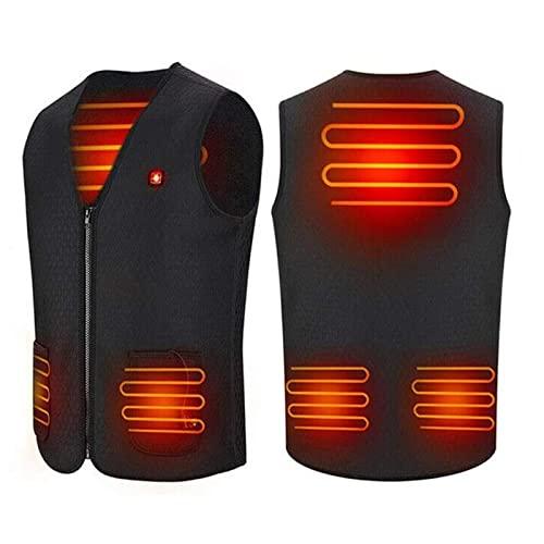 TCTCXQG Elektrisch beheizte Weste Beheizte Jacke für Herren Damen, Waschbare USB-beheizte Kleidungsweste, Heizkörperwärmer-Weste mit 3 optionalen Temperaturen für Outdoor-Skifahren, Wandern,