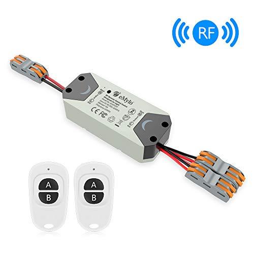 eMylo Smart Wireless Relaisschalter RF 220V Zwei 2-Kanal-Fernsteuerungsschalter 90-250V HF-Relaisschalter Home Automation 433Mhz mit zwei Sendern 1 Packung