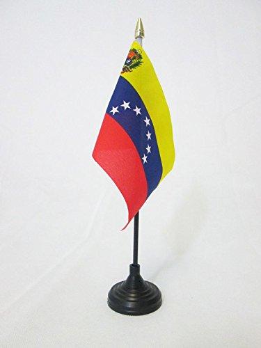 AZ FLAG Bandera de Mesa de Venezuela 15x10cm - BANDERINA de DESPACHO VENEZUELANA 10 x 15 cm Punta Dorada