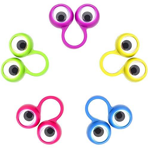 30 Piezas de Marionetas de Dedo de Ojo Anillos de Ojos Saltones Favores de FieDILISEN Juguetes para los Niños, 5 Colores (Pequeña Tamaño)