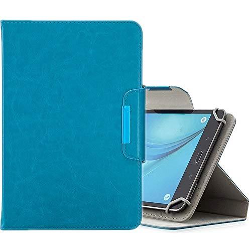 MEMETIAT Funda de piel para tablet de 7 pulgadas, universal, color sólido, horizontal, con ranuras para tarjetas, soporte y cartera, color azul claro