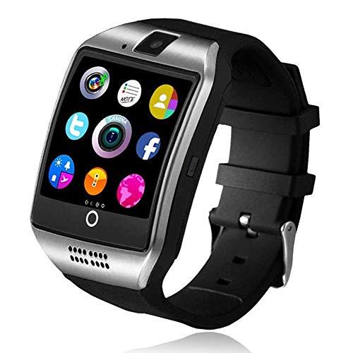 Reloj Inteligente, Smartwatch con Cámara TF/Ranura de Tarjeta SIM, Podómetro, Cronómetros Fitness Tracker, Bluetooth Reloj Iinteligente Hombre Mujer niños Compatible Android y iOS Phone (negro)