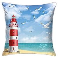 ポリエステルスローピローケースクッションカバーイラスト穏やかな海岸の灯台空飛ぶカモメ海の風景ソファ家の装飾(18x18インチ/ 45x45cm)