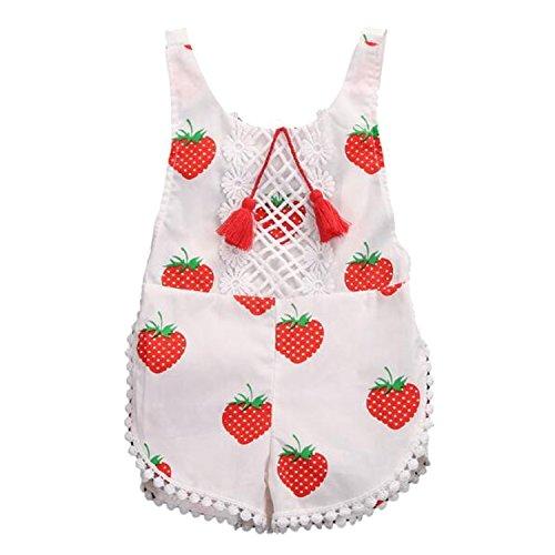 Vococal Salopette Bébé nouveau-né enfant Fille Sans manche Configuration de fraise