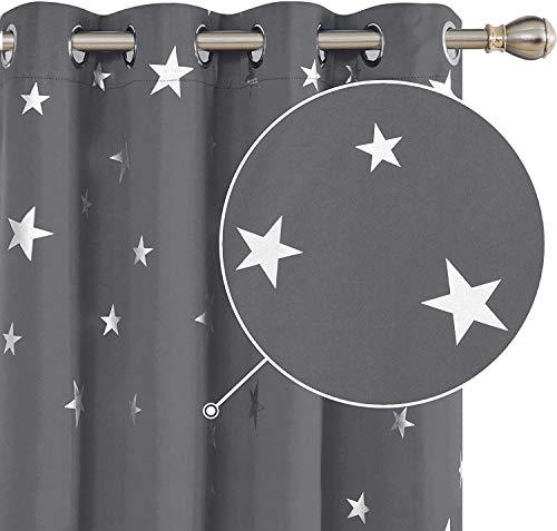 Deconovo Sterne Vorhang Blickdicht Ösenvorhang Muster Verdunkelungsvorhang Büro 245x140 cm Hellgrau 2er Set
