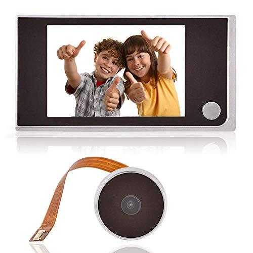 Denash Visor Digital de Puerta, Monitor Inteligente de Pantalla LCD en Color HD de 3.5 Pulgadas para Interiores, Mirilla Exterior con Timbre, Negro