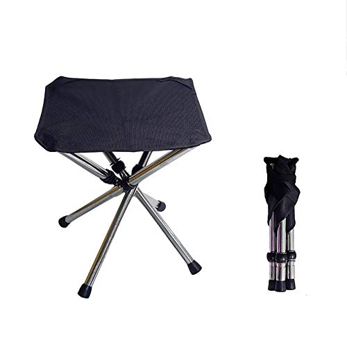 qidongshimaohuacegongqiyouxiangongsi angelausrüstung Teleskop Klappstuhl Portable Outdoor-Camping-Strandkorb Stahl Mini Klappstuhl Angeln Stuhl (Color : Black)