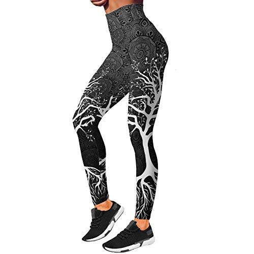 ZKHD Pantalones de Yoga Atléticos para Mujer Leggings de Yoga de Impresión 3D Medias de Fitness de Cintura Alta Leggings de Gimnasio de Entrenamiento,C-3XL