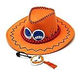 Gorro de Pescador One Piece Fire Fist Ace Hat Personaje De Anime Ace Cosplay Performance Hat Sombrero De Vaquero Sombrero Japonés Sombrero De Sol Amarillo Talla Única