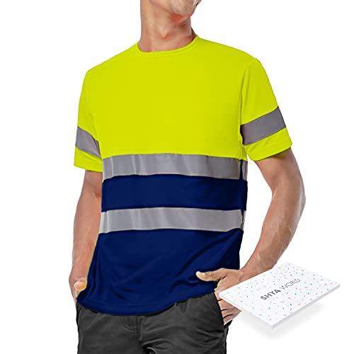 ShyaWorld Ropa Trabajo Reflectante Alta Visibilidad homologada Seguridad (Amarillo y Marino Camiseta,...
