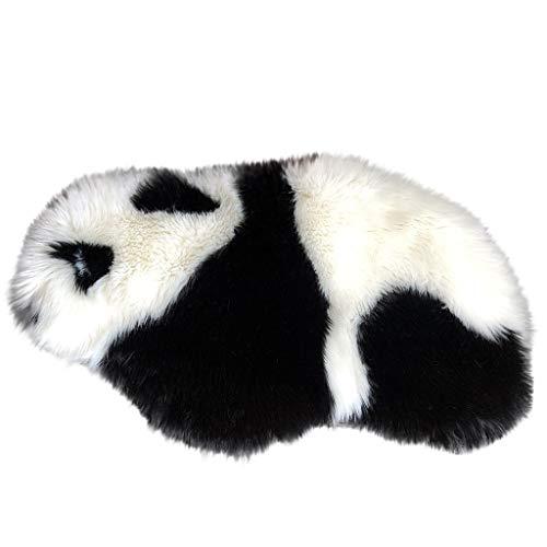 TIREOW Panda Muster Teppich, Haariger Teppich Wohnzimmer Einfache Flaumige Schlafzimmer Imitat Baby Spielmatte Spielteppich Kinderzimmer Teppich 80 * 43cm (B)