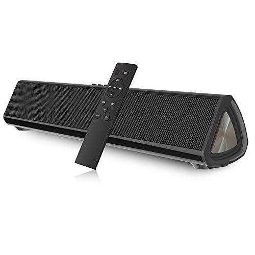 Barras de Sonido, CestMall Barra de Sonido para PC Bluetooth 5.0, subwoofer inalámbrico/con Cable, Barra de Sonido para TV, Altavoz portátil para TV con Control Remoto Bluetooth, Entrada AUX y TF