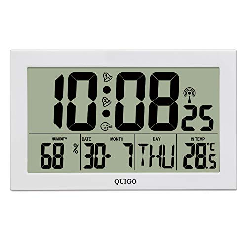 QUIGO Wanduhr Groß Funk Digital Modern Wecker mit Licht Tischuhr Küche Wohnzimmer Lautlos Temperaturanzeige Batteriebetrieben Mehrere Alarme weiß