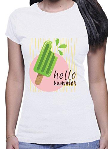 Hello Summer Green Ice Cream Design Short Sleeve Casual Women White T-Shirt