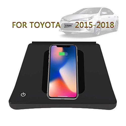 SEESEE.U - Cargador inalámbrico para coche compatible con iPhone 8 Plus X XR XS Max silicona Pad soporte caja de almacenamiento compatible con Toyota Levin 2015-2018