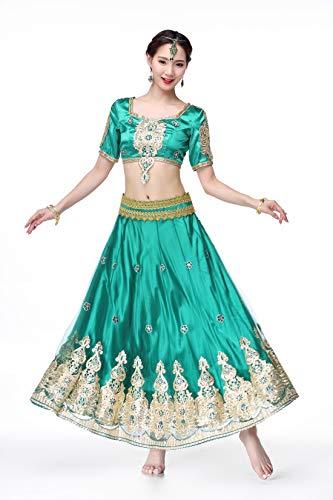 SMACO Indian Bollywood Lady Buik Dans Kleding Vrouw Set Jurken Bellydance Jurk Pak Rood Indian Bollywood Dancers Dans Kostuums Vrouwen Volwassenen (3-delige set)