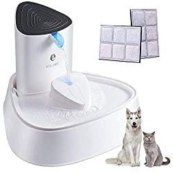 PUPTECK Pet Fountain - Automatic Super Quiet Cat Water Fountain with LED Light, Baffle and Activated Carbon Filter, Adjustable Cat Water Dispenser, Dog Drinking Fountain Water Bowl, Small Animals