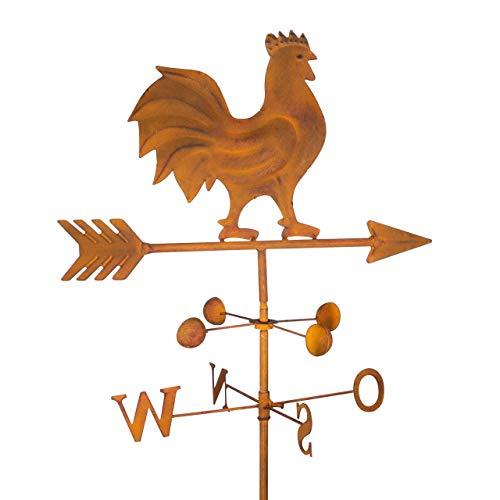 CIM Edelrost Gartenstecker - Wetterhahn - Verlässliche Windrichtungs- und Himmelsrichtungsanzeige - Maße des Rost-Wetterhahns 23cm x 23cm - Länge des Pfeils 42cm - Gesamthöhe 120 cm