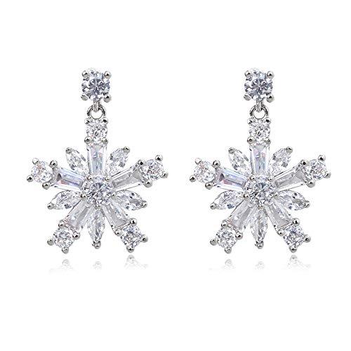 TJZY s925 Sterling Silver Snowflake Earring Christmas Diamond Ear Clip Dangle Ear Jewelry Gift Party Birthday/Earrings/As Shown