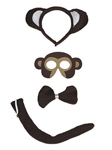 Petitebelle Cinta de cabeza del mono mscara del traje de cola de 4 piezas de Bowtie para Nios Un tamao marrn