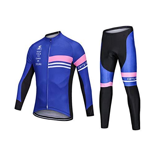 FGJFA fietsshirt voor heren, lange mouwen, mountainbike, racefiets, fietsbroek met gewatteerde fietsjack, outfit