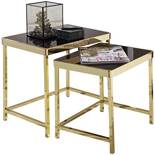 KADIMA DESIGN Mesa nido de diseño moderno ALOIV, color negro y dorado, mesa auxiliar de metal y cristal, juego de 2 mesas pequeñas, mesa de salón, mesa de metal con tablero de cristal