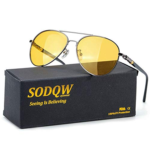 SODQW HD Polarized Night-Vision Glasses, Classic Aviator Night-Driving Glasses, Pilot Metal Frame for Men Women Night-Driving (Gun Frame/Yellow Night-Driving Glasses)