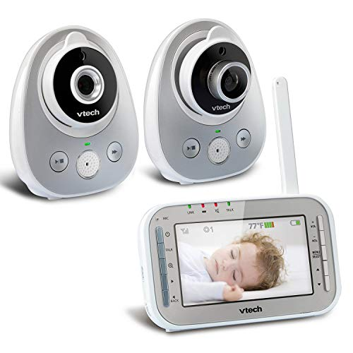 VTech VM342-2 Video Baby Monitor with 170-Degree Wide-Angle Lens for Panoramic View, Night Vision, Talk-Back Intercom & 1,000 feet of Range with 2 Cameras (Renewed)