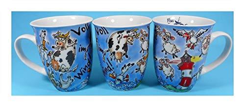 N / A 1 Tasse Comic Maritim 10,5 x 8,5 cm Leuchtturm Möwe Schaf Kuh Kaffee Becher Deko E20