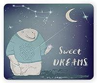 長方形のマウスパッド、彼の手に星を持ったセーターのシロクマドリームプリント、滑り止めラバーバッキングマウスパッド、淡いグレーのシーフォームインディゴ
