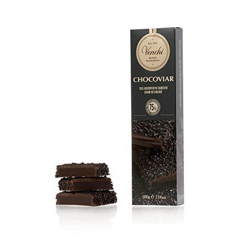 Venchi Stecca Chocoviar Ricoperta, 200g - Con Ripieno Di Fondente 75% E Olio Di Oliva - Senza Glutine, Cioccolato