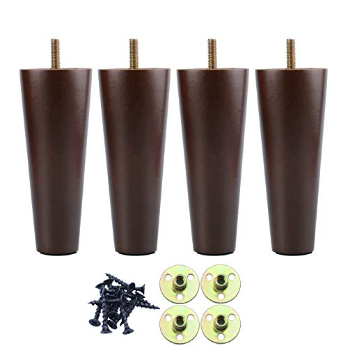 GOSCHE 15cm Furniture Legs Wooden, Brown Solid Tapered Sofa Legs Set of 4, M8 Wood Cabinets Feet with Mounting Plate, Screws, Anti-Slip Mats for Sofa bed Coffee Table Chair Cupboard Nightstand