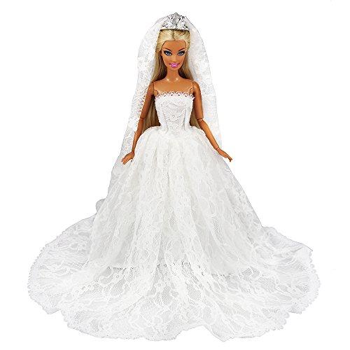 Miunana Hochzeitskleider + Brautschleier, Braut Prinzessinnen Kleidung Kleider für 11,5 Zoll Mädchen Puppen