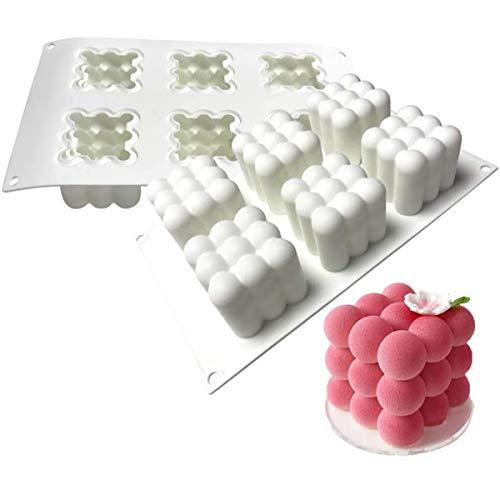 MKNZOME Molde de Silicona 6 cavidades, Molde para Hornear en Forma de Cubo 3D Rubik Molde para Hornear Bandeja de Muffins Herramientas de Bricolaje para Pastel Chocolate Magdalena Mollete