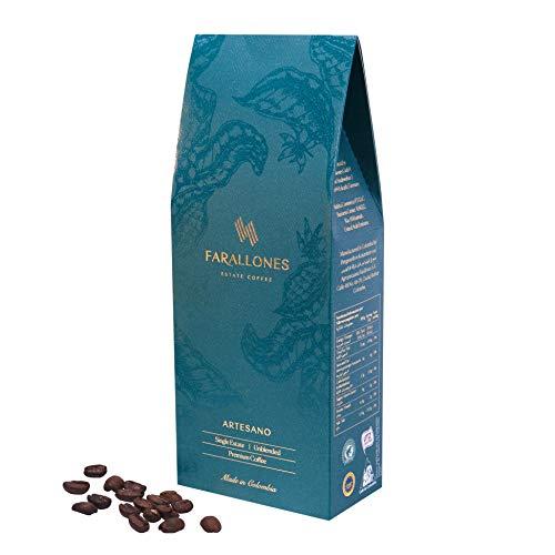 Farallones Estate Coffee, Premium Arabica Aromatische Ganze Kaffeebohnen aus Kolumbien, Milde Röstung, Stärke 3/5, 250g pack