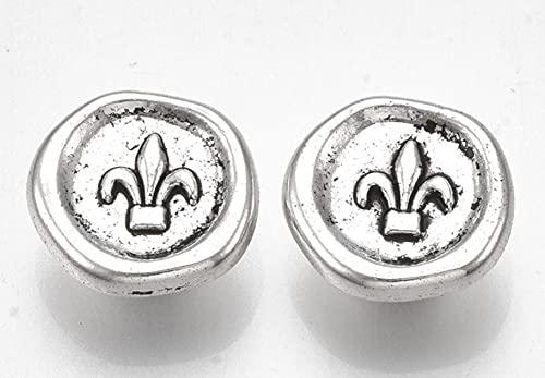 50 botones de metal de 14,5 mm, color platino con lirio para manualidades