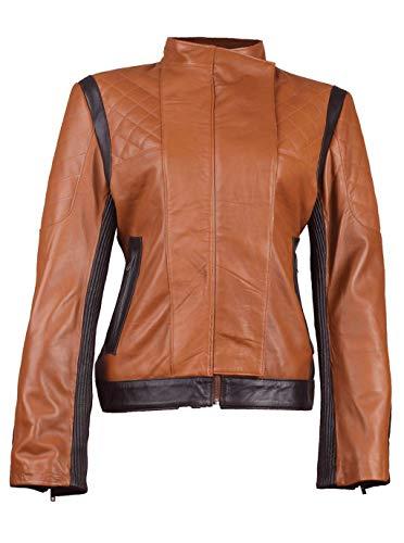SNA Collection Bruin Biker Leren Jas voor Dames - bruin - 3XL