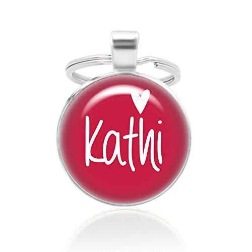 Schlüsselanhänger mit Wunschtext - rot, 25mm Cabochon mit versilberter Fassung und Herz-Motiv, Partner-Anhänger mit Gravur, auch ideal als Taschenanhänger, Mode-Schmuck von KT-Schmuckdesign