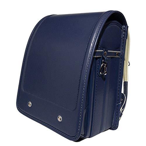 YMXLJJ Automatic School Bag Girls and Boys, Senior Waterproof PU Leather Elementary School Student Backpack,Blue