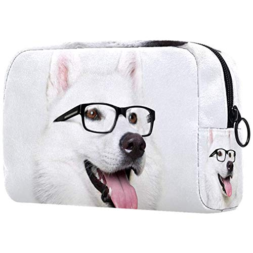Bolsa de cosméticos para mujer, gafas de perro Husky, bolsas de maquillaje, accesorios organizador de regalos