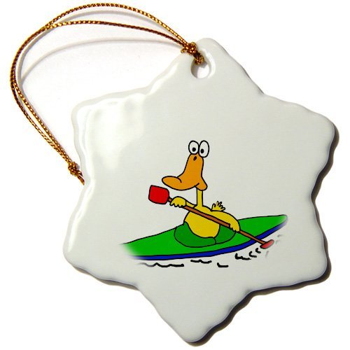 Blake55Albert Funny Yellow Duck Kayaking Christmas Ornaments for Kids Christmas Tree Decoration Ceramic 3 Inches
