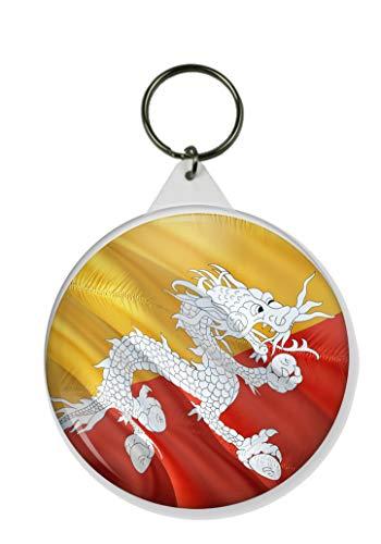 Gifts & Gadgets Co. Schlüsselanhänger Bhutan-Flagge im Wind, rund, 58 mm Durchmesser