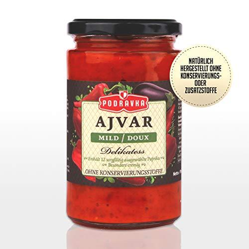 Podravka Podrvka Ajvar Delikatess Mild, Milde Gemüse-Würzpaste für den milden Geschmack, (1 x 350 g)