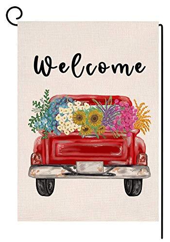 RDXX Bienvenido Primavera Flor camión jardín Bandera Vertical de Doble Cara arpillera Patio Granja Colorida decoración al Aire Libre 12,5 x 18 Pulgadas