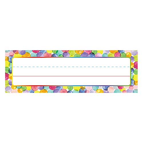 Watercolor Dots Name Plates for School Classroom 50 Pcs, Back-to-School Decoration, Teacher/Student Use for Classroom/School Decoration