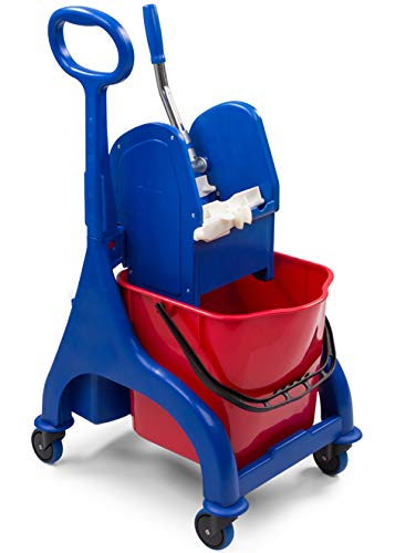 Denox DEN344 Carro Limpieza Profesional 25L, Rojo, 530x420x930 mm