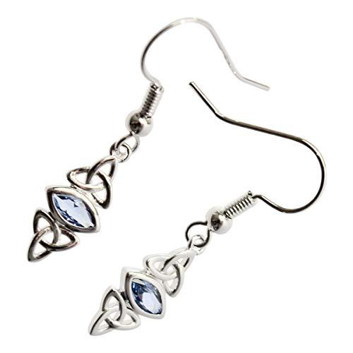 GWG Jewellery Pendientes Mujer Regalo Pendientes Colgantes, Chapados en Oro Blanco 18K Triquetras Celtas de Trinidad Abrazadas Cristal Colorado para Mujeres
