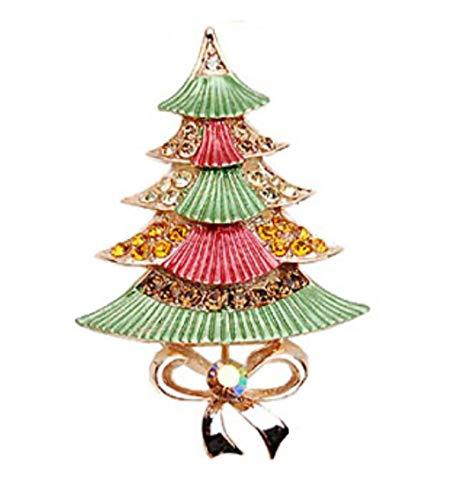 FGSJEJ Kristall Brosche Pin Legierung vergoldet Anzug Weihnachtsbaum Corsage Kragen Pin Schal Taste